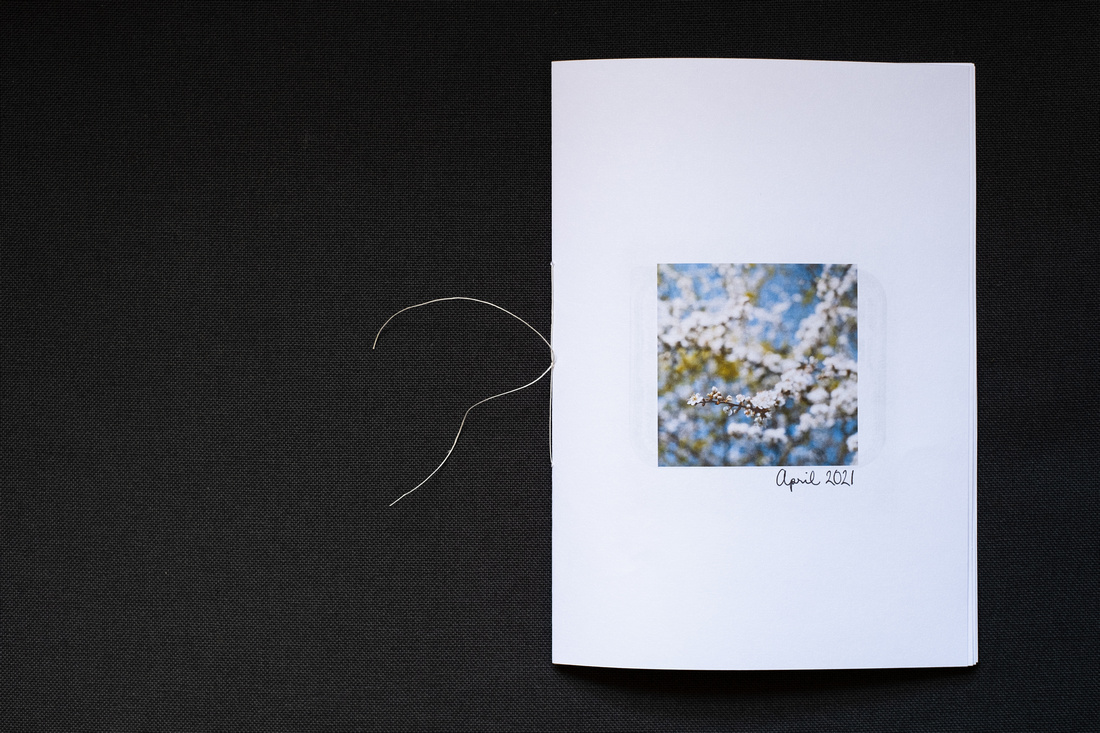 Photograph of a homemade Zine about April 2021, photographed on a dark grey background. Shown here is the front cover, showing a photograph of blackthorn blossom and 'April 2021' handwritten below.