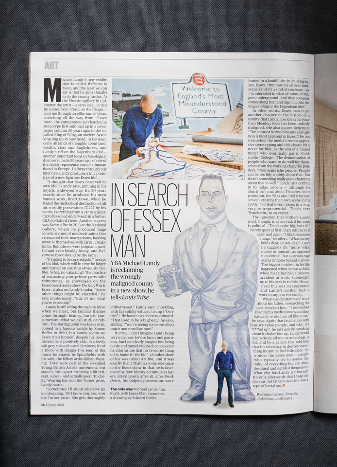 Photograph of a page of the Sunday Times Culture magazine showing a feature on Michael Landy's 'Welcome to Essex' exhibition at Firstsite.