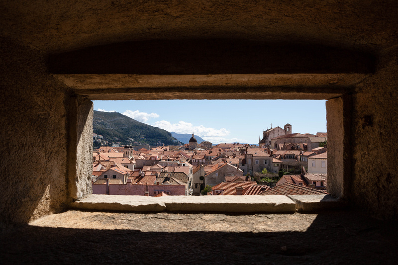 View across the Old Town, Dubrovnik, through a window in the City Walls.
