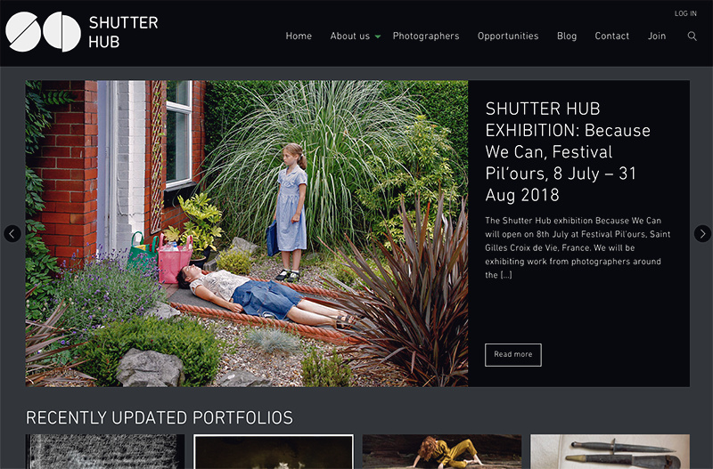 Screenshot of the Shutter Hub homepage, featuring a shot featured in 'Because We Can', Festival Pil'ours, France