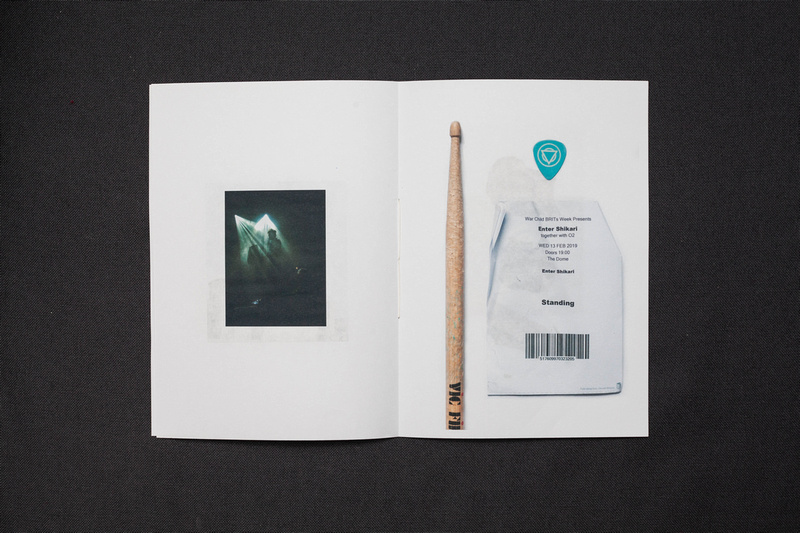 A Zine about my February - a very small and special Enter Shikari gig, and the ticket, drumstick and plectrum from that gig