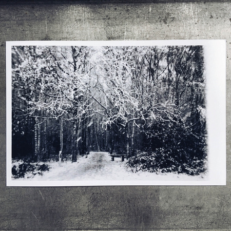 Black and white snow-scene print