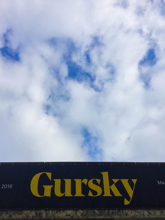 'Gursky' sign and the sky, at the Hayward Gallery