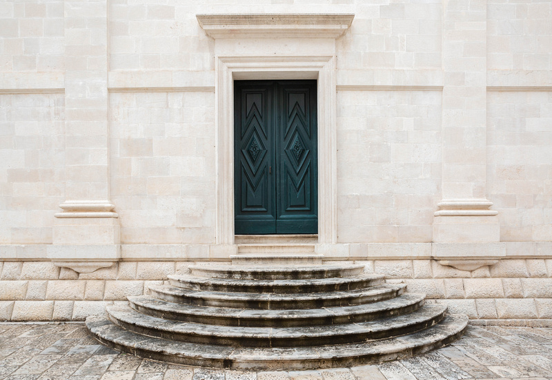 Door and steps, Luza Square, Dubrovnik