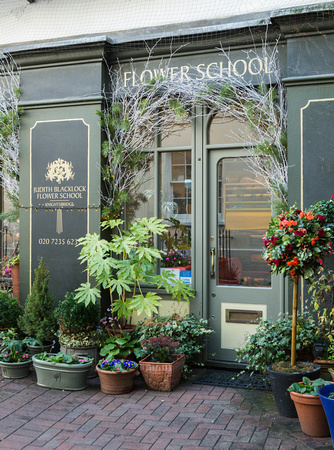 Judith Blacklock Flower School decorated for Christmas.