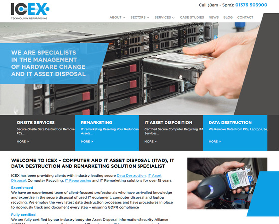 Screenshot of the ICEX Ltd. homepage - with design by MC+co and photography by Jayne Lloyd.