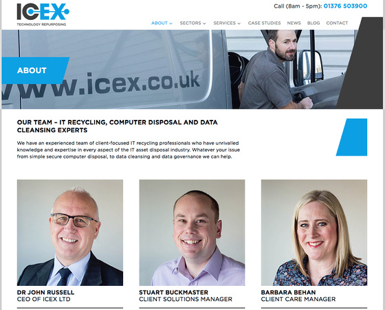 Screenshot of the ICEX Ltd. About Us page - with design by MC+co and photography by Jayne Lloyd.